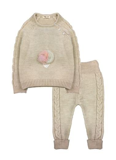 By Leyal For Kids  Dondurma Detaylı Triko Kazak Ve Pantolon Takım-7010 Bej